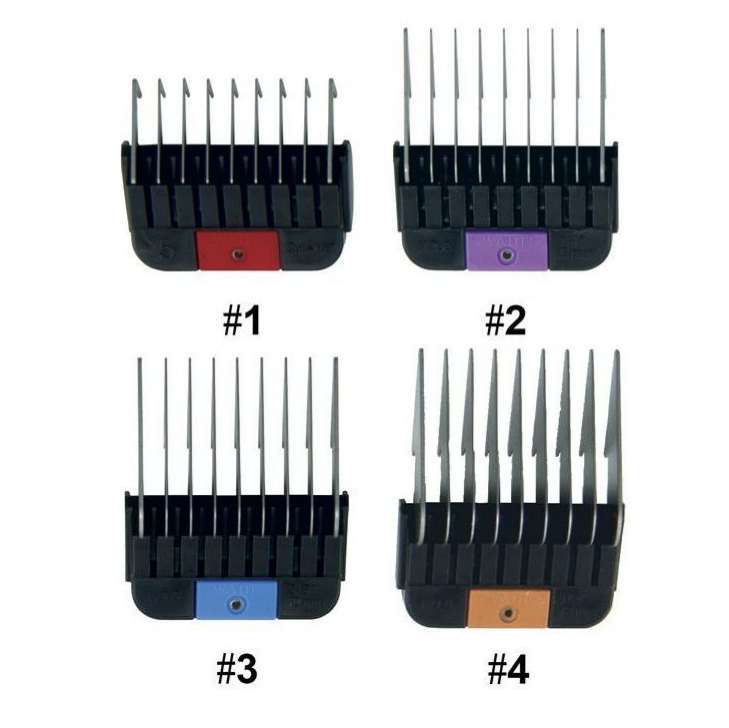 WAHL 1-4 #1 2 3 & 4 Stainless Steel Combs / Metal Guides For KM2 KM5 KM10 KMSS Clippers