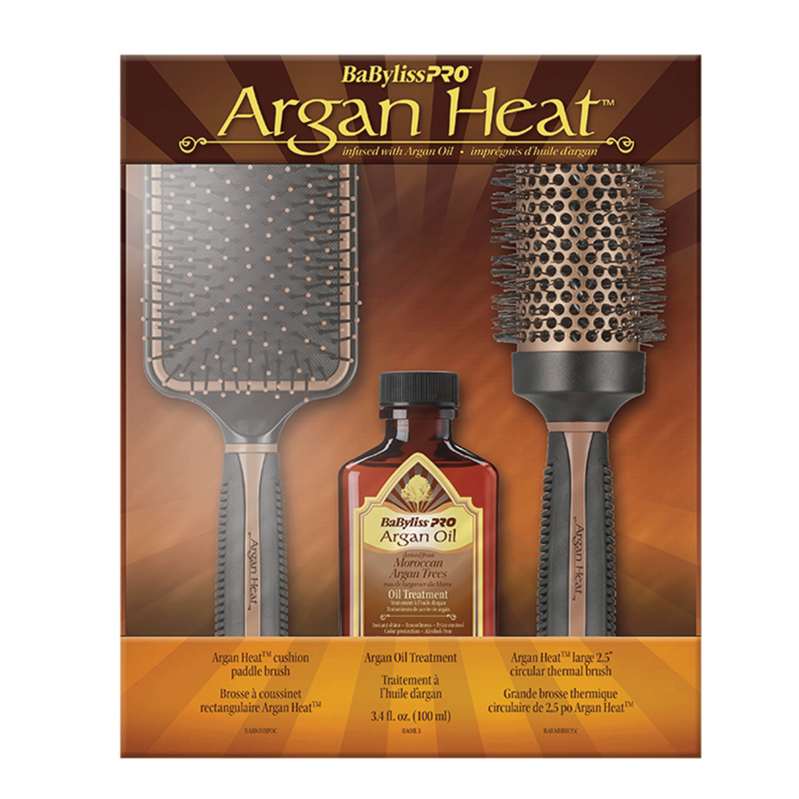 BaByliss Pro Argan Heat Paddle Brush, Thermal Brush & Oil Set