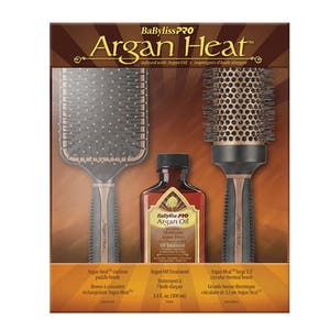 BaByliss Pro Argan Heat Paddle Brush, Thermal Brush & Oil Set