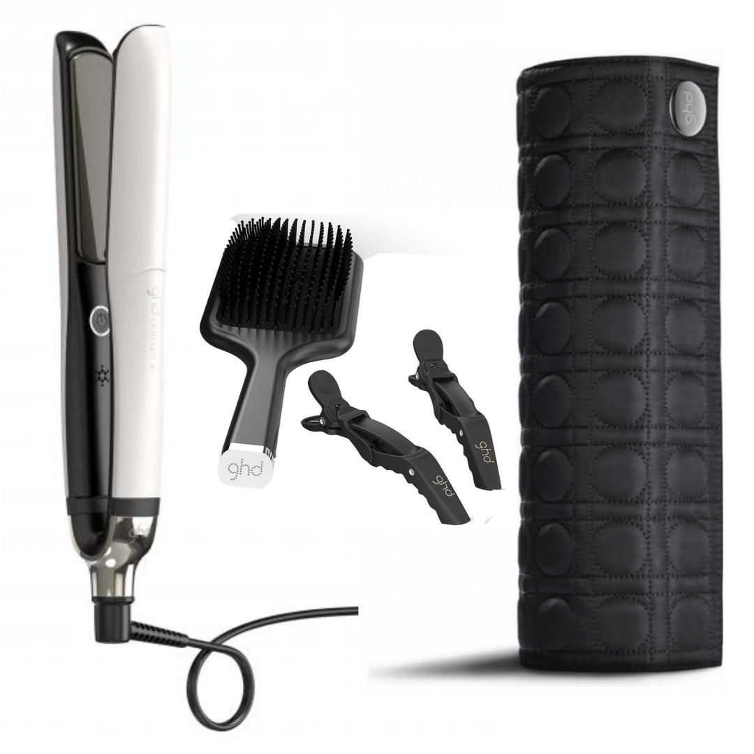 ghd White Platinum+ Styling Gift Set (White Platinum+ styler, Paddle Brush, 2 Croc clips, Heat Resistant Roll bag)