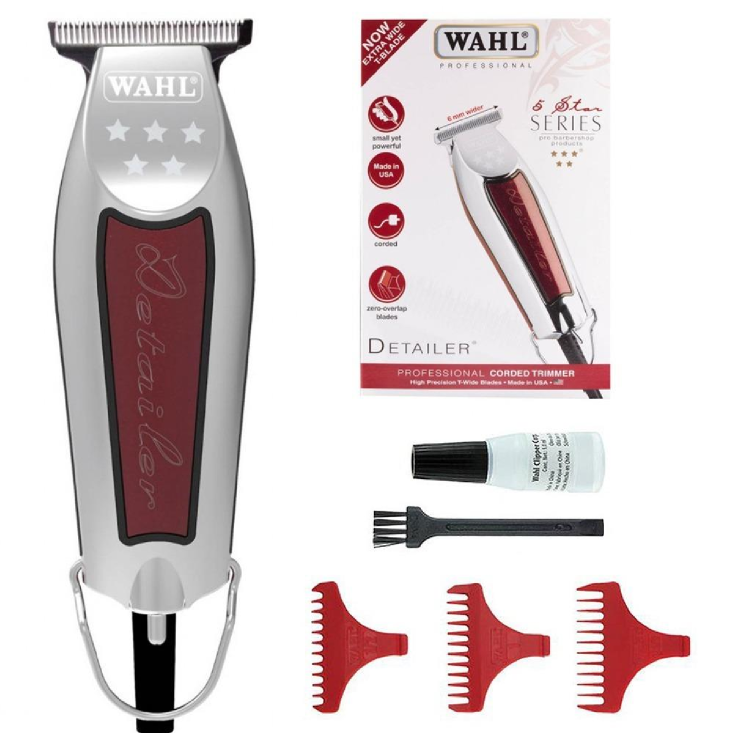 Wahl 5 Star Detailer Professional Corded Trimmer With High Precision T-Wide Blades - WA8081-712