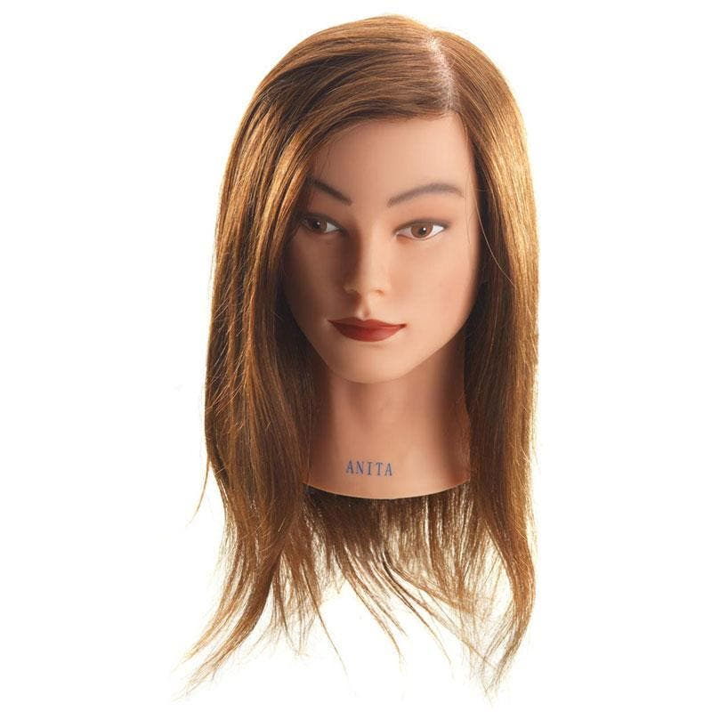 Mannequin Head ANITA 100% Human Long Brown (40-45cm) Hair Training Head Apprentice Hairdressers