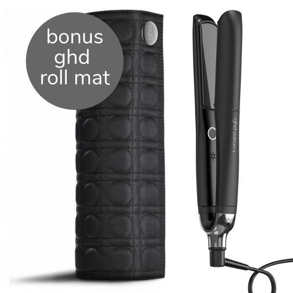 ghd Platinum+ Black Smart Hair Straightener + Ghd Roll Mat 454