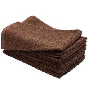 10 Brown SSS Beauty Towel 100% Cotton Hand Towels Barber/Beauty/Gym/Hotel/Spa
