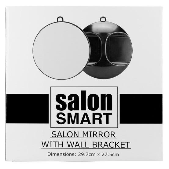 Salon Smart Black Round Mirror with Wall Bracket & Handle - Large