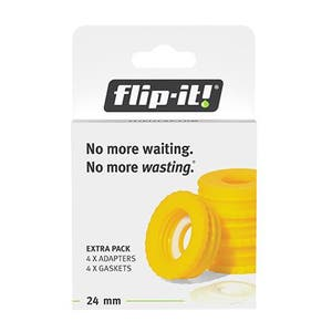 Flip-it Bottle Empty Kit: Yellow Adapters (Size Small, 4-Pack) 28mm