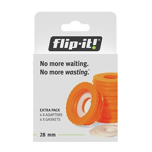 Flip-it Bottle Empty Kit: Orange Adapters (Size Medium, 4-Pack) 28mm