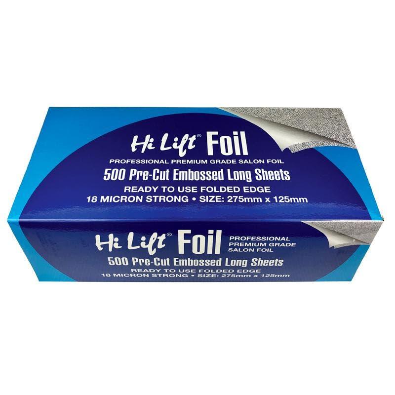 Hi Lift Embossed Silver Foil 500 Pre Cut Folded Sheets - LONG - 18 Micron Silver HLFS500L