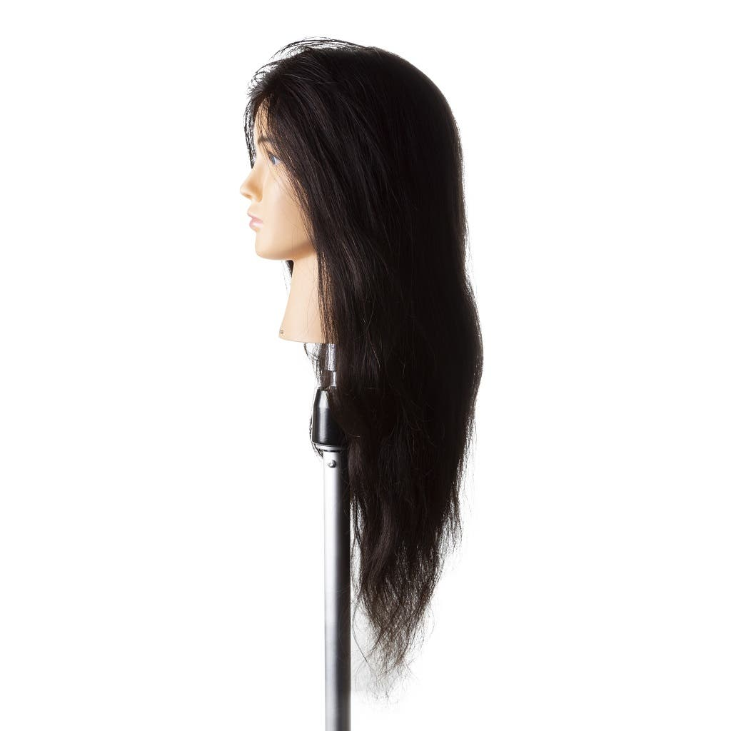 "JANICE Mannequin Head 100% Human Hair Dark Brown 24"" / 60cm"