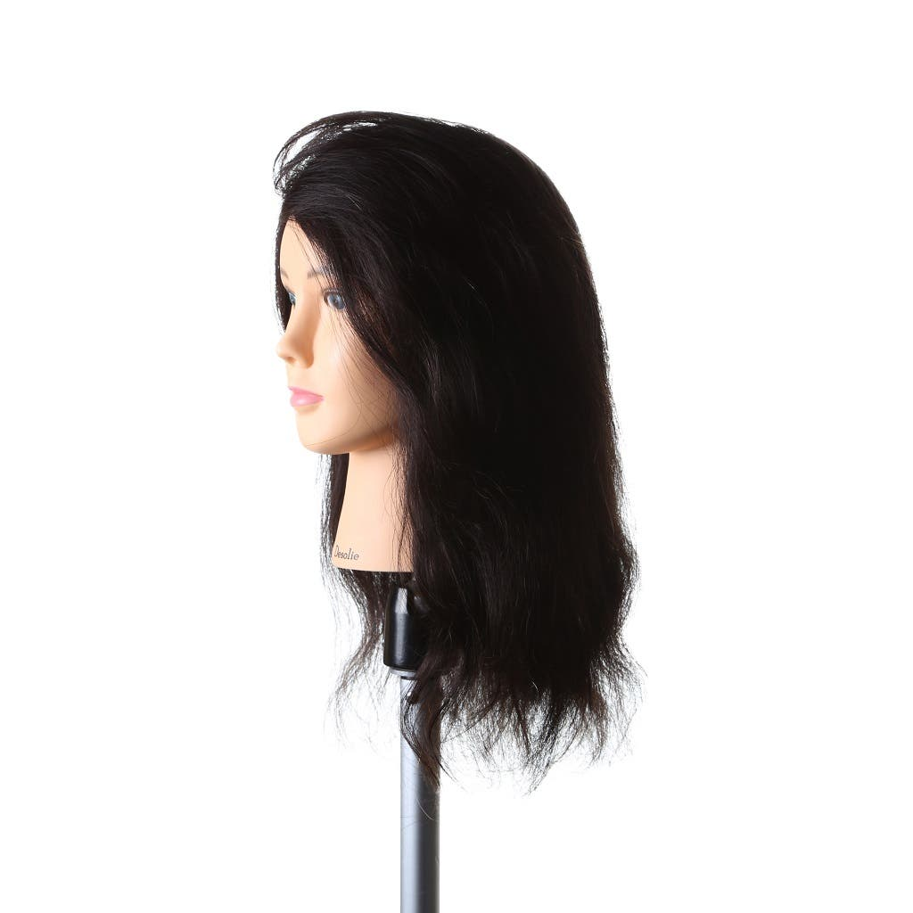"DESOLIE Mannequin Head 100% Human Hair Dark Brown 16"" / 40cm"