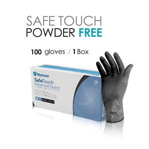 SafeTouch BLACK NITRILE/POWDER FREE ADVANCE GUARD Gloves Tattoo Hair Health Beauty MEDIUM 100 GLOVES / 1 BOX
