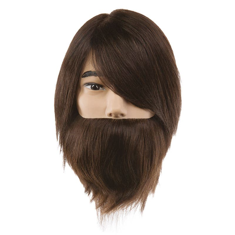 Professional Mannequin Head - PIVOT POINT Samuel Bearded - Male Dark Brown 100% Human Hair