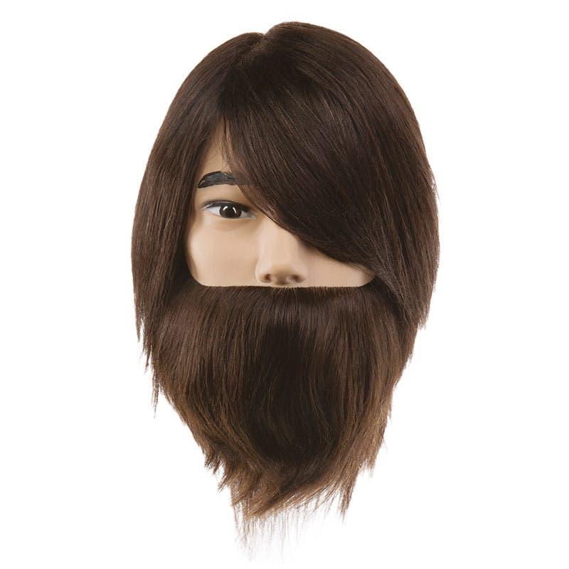 Professional Mannequin Head - PIVOT POINT Samuel Bearded - Male Dark Brown 100% Human Hair