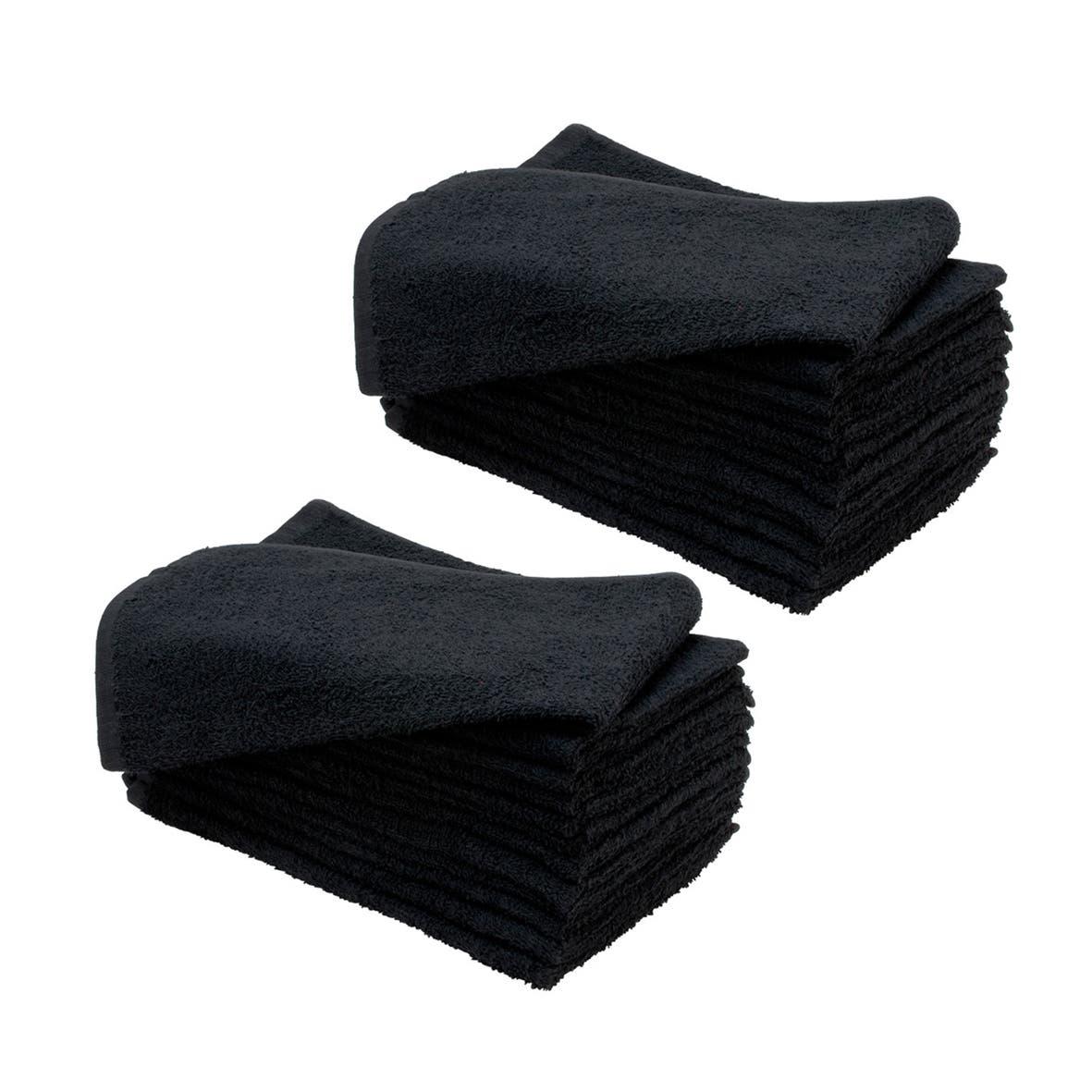 SydneySalonSupplies 135g LUXE BLACK Hand Towels 100% Cotton Hair/Barber/Beauty/Gym