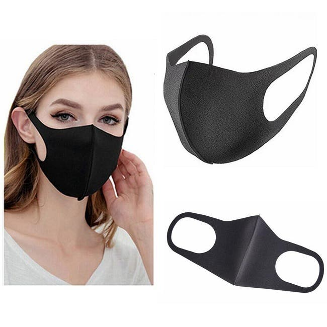 Black Face Mask Air Filter Masks Dust Proof Breathable Washable Unisex