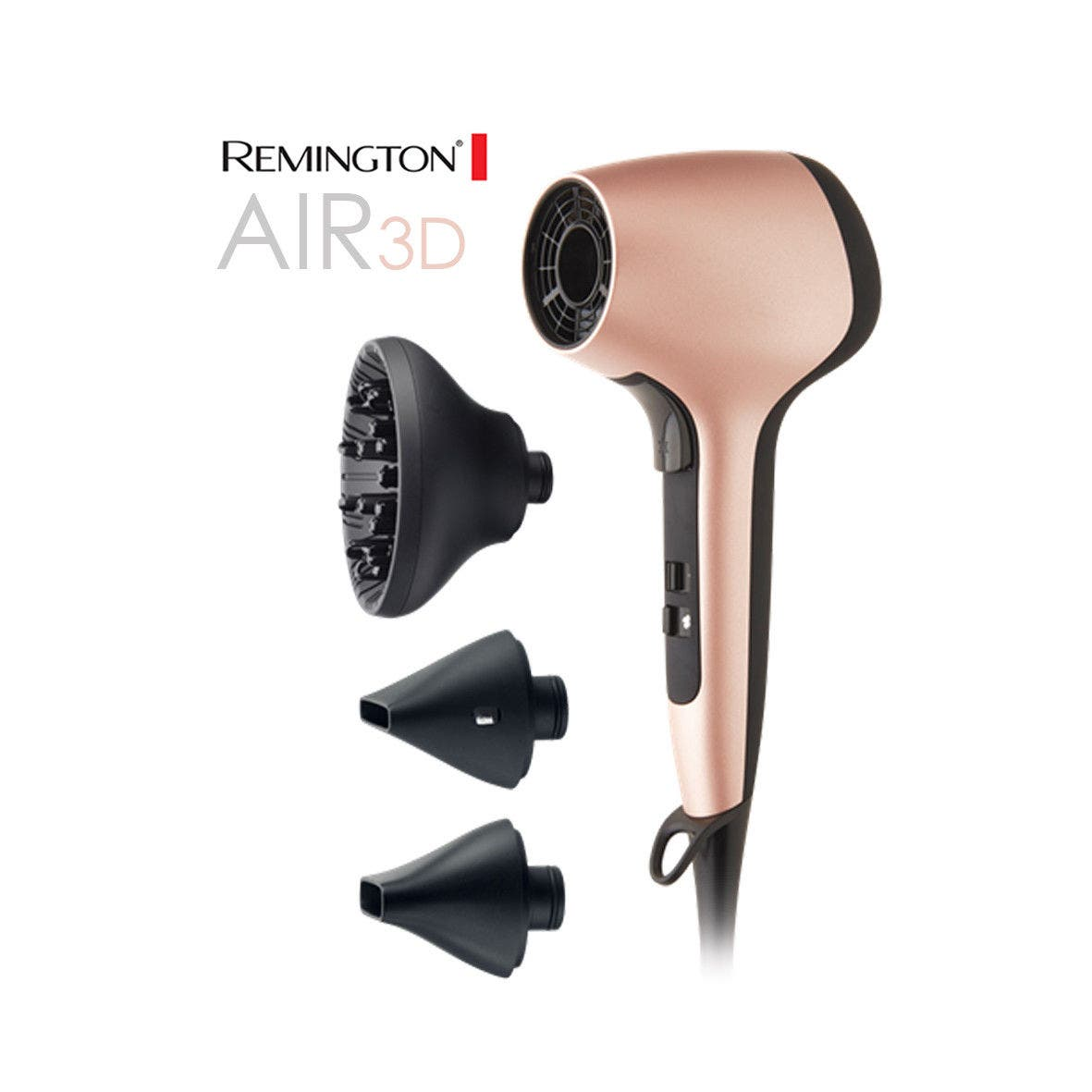 Remington AIR 3D Hair Dryer - 3D Airflow Rose Gold Hair Dryer - D7777AU