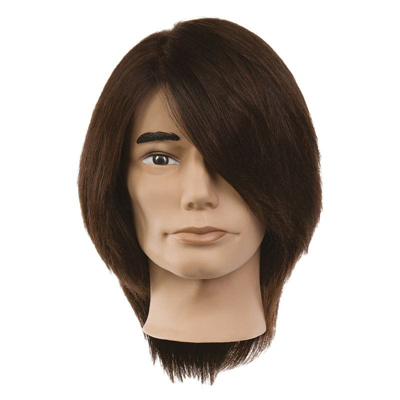 Professional Mannequin Head - PIVOT POINT Samuel - Male Dark Brown 100% Human Hair
