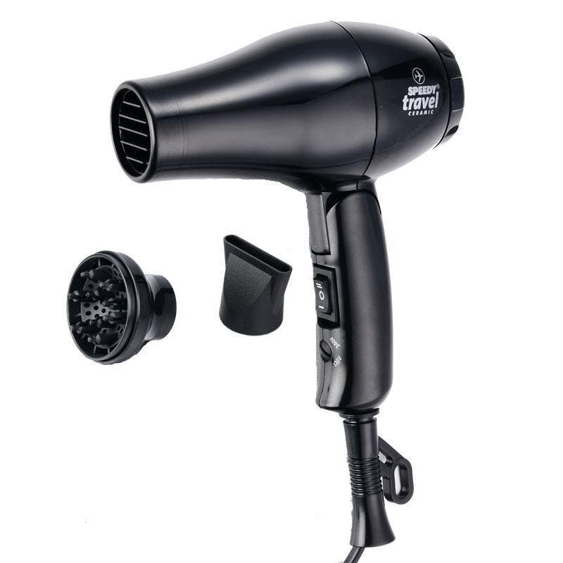 Speedy Travel Hair Dryer with Nozzle & Diffuser Ceramic 1000w - Black