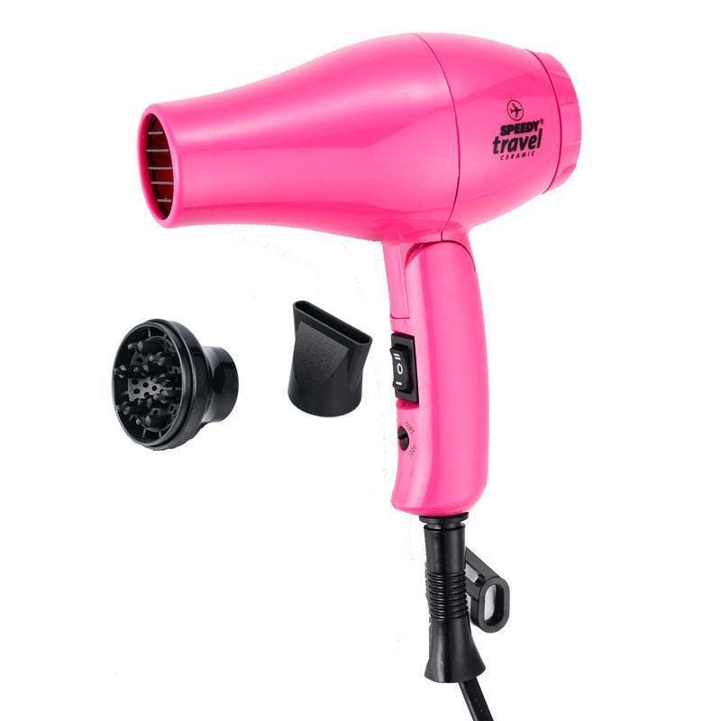 Speedy Travel Hair Dryer with Nozzle & Diffuser Ceramic 1000w - Pink