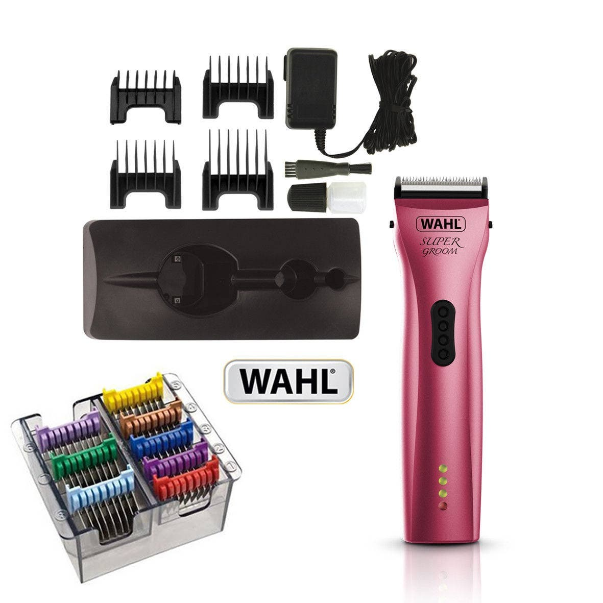Wahl SUPER GROOM PINK Animal Cordless Clipper + 5 in 1 Stainless Steel Guides