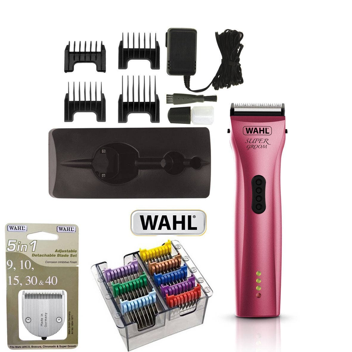 Wahl SUPER GROOM PINK Animal Cordless Clipper + 5 in 1 Stainless Steel Guides + 5 in 1 Blade
