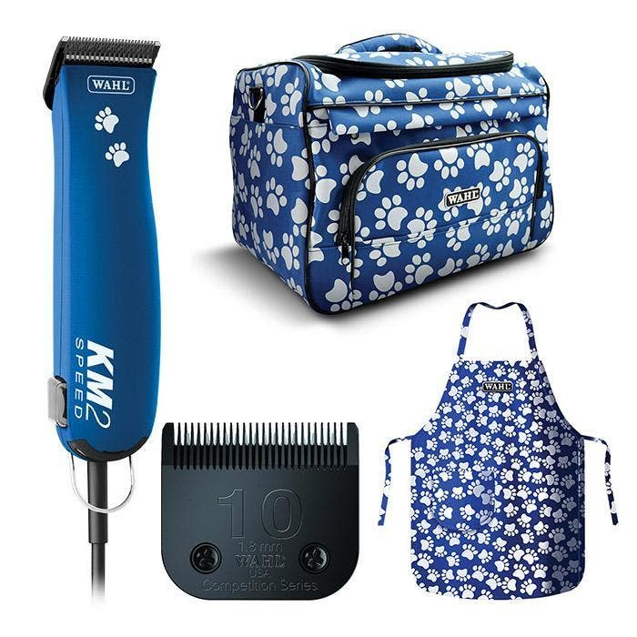 Blue Paw Print Wahl KM2 Speed Professional Clipper with Wahl Bag & Apron