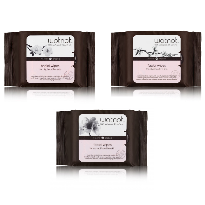 WotNot Facial Wipes 100% Natural & Organic 25 Wipes